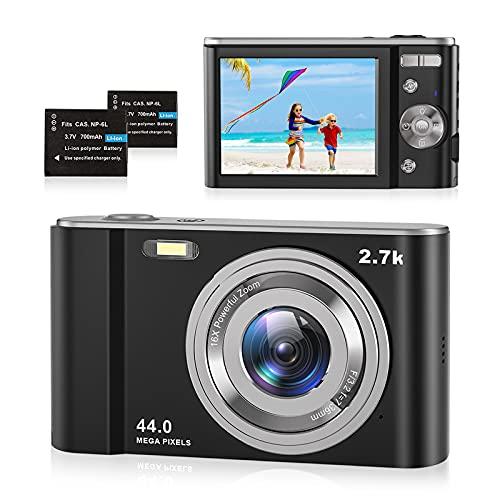 Fotocamera Digitale Compatte 2.7K HD Macchina Fotografica, 44 MP 2,88' LCD Schermo, 16x Zoom Digitale Ricaricabile Vlogging Mini Videocamera per Bambini/Anziani/Adulti/Principianti, Nero, 2 Batteria