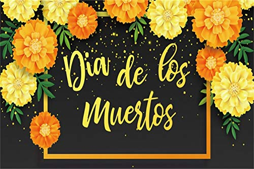 Leowefowa 5x3ft Ofrenda Day of The Dead Backdrop Dia De Los Muertos Photography Background Yellow Orange Marigold Frame Altar Decoration Fiesta Carnival Party Banner Photo Booth Event Show Shoot