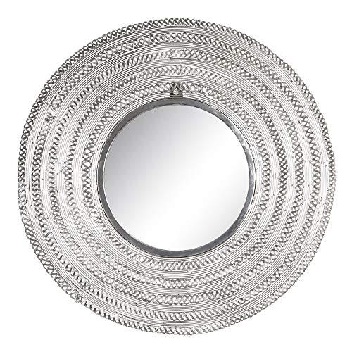 Espejo Redondo Plata de Metal y Cristal de Ø 58 cm - LOLAhome