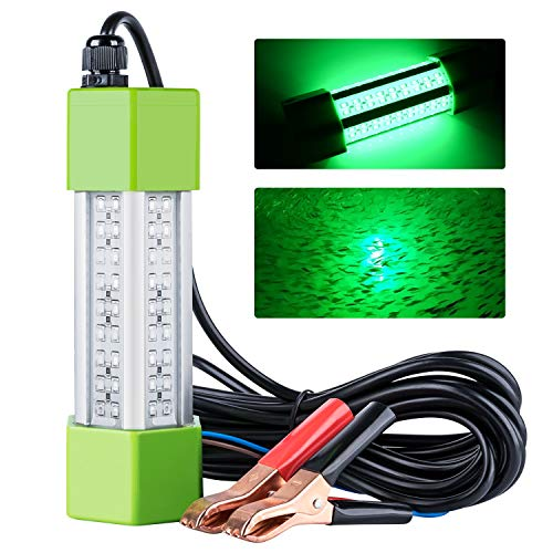 Goture 12v 70w Underwater Fishing Light – Portable IP68 LED Freshwater & Saltwater Submersible Waterproof Lure Bait Lamp with 5M Cord for Boat Kayak Bank Dock – Green