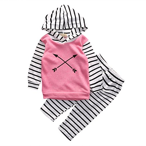 Baby Girl 2pcs Suit Outfit Arrow Pattern Pink Hoodies+Striped Long Pants Set (12-18months, Pink)