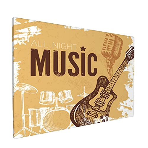 CanvasWallArtPrints,Rock Music Vintage Sketch Hand Drawn Drums And Microphone,ModernFramedPaintingArtworkReadytoHangforHomeDecorationOffice,LivingRoomDecor