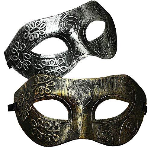 Ouinne 2 Stücke Maskerade Maske, Venezianische Fasching Verkleidung Masquerade Kostüm Ball Halloween für Herren und Damen