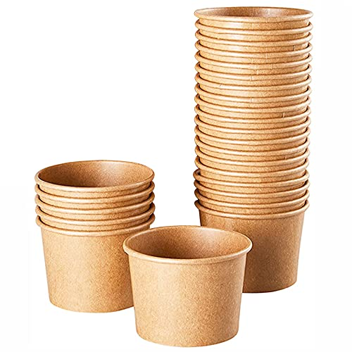 MonLiya 25 Pack 8 oz Disposable Soup Bowls with Lids Brown Kraft Paper Food Containers Cup, Food Storage Cups for Sundae, Frozen Yogurt, Chili, Dessert
