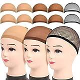 10 Pack Wig Caps, LEOBRO 4 Pack Brown Stocking Wig Caps, 4 Pack Light Brown Stocking Wig Caps, 2 Pack Black Mesh Net Wig Caps, for Women Girl Men Kids, Halloween Cosplay Party Use