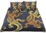 Juego de Funda nórdica Lagartos artísticos de Gecko Estilo de Tatuaje de Henna Tropical Juego de Cama Decorativo de 3 Piezas con 2 Fundas de Almohada