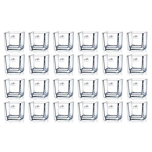 Sandra Rich 24er Set Teelichtgläser, Windlichter Cube H. 8cm 8x8cm Glas eckig
