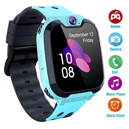 Kinder Spiele Smart Watch MP3 HD Touchscreen Smartwatches mit [1 GB Micro SD-Karte] Spiele Anruf Silent-Modus für SOS Weckern für Jungen Mädchen Student Kinder Geschenke (Blau)