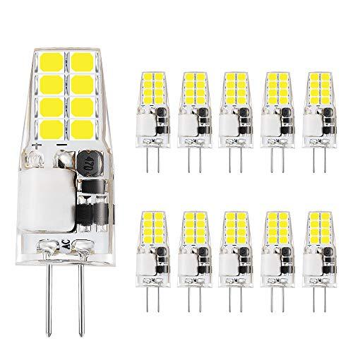 VINBE G4 LED Lampen, 3 W, entspricht 35 W Halogen lampen, 12 V AC/DC LED Lampe, 350 Lumen, flackerfrei, nicht dimmbar, 360° Licht winkel, G4 Licht, Stift lampen, Weiß (6000K, 10er-Pack)