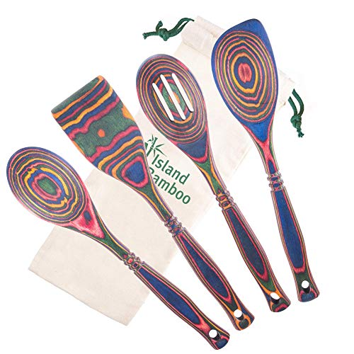Island Bamboo 4-Piece Pakkawood Utensils Set - Durable, Eco-Friendly – Includes: (1) Traditional Spoon, (1) Slotted Spoon, (1) Angled Corner Spoon, and (1) Dual-Edged Spatula - (Rainbow Color)