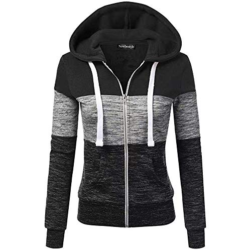Newbestyle Jacke Damen Sweatjacke Hoodie Sweatshirtjacke Pullover Oberteile Kapuzenpullover (Schwarz-Grau, Large)