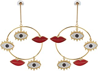 FlYHIGH Big Evil Eye Lip Charm Gold Loop Ciondola Orecchini Pendenti Statement Fashion Jewelry