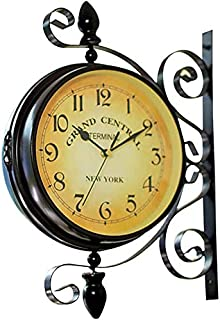 Double Sided Wall Clock Iron Silent Quiet Grand Central Station Wall Clock Art Clock Decorative Double Faced Wall Clock 36...