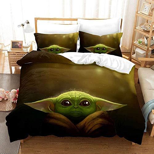 Star Wars The Kind Baby Yoda Funda nórdica suave y esponjosa microfibra 2 fundas de almohada decoración dormitorio infantil (06, 135 x 200 cm (80 x 80 cm)