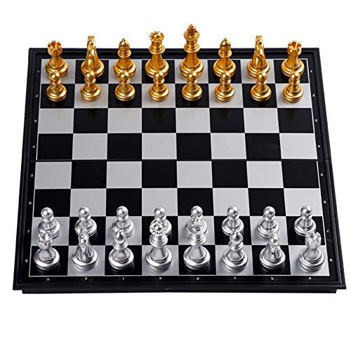 International Chess Juego De Ajedrez Magnético Plegable Dorado Y Plateado para Adultos Y Niños, Juegos De Mesa Portátiles De Viaje, Juego De Ajedrez De Plástico Hips,32cm x 32cm