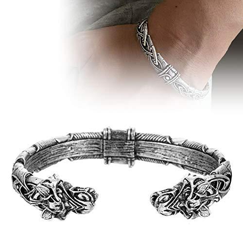 xiaomomo521 Brazalete de Pulsera con Cabeza de Lobo Vikingo, Anillo de Brazo de Metal, Pulsera, joyería de Moda para Hombres y Mujeres Plata Antigua