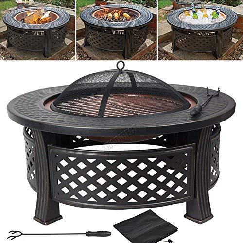 CRZJ Outdoor - Chimenea de metal multifuncional 3 en 1, para jardín, barbacoa, brasero, mesa redonda, estufa de patio, color negro