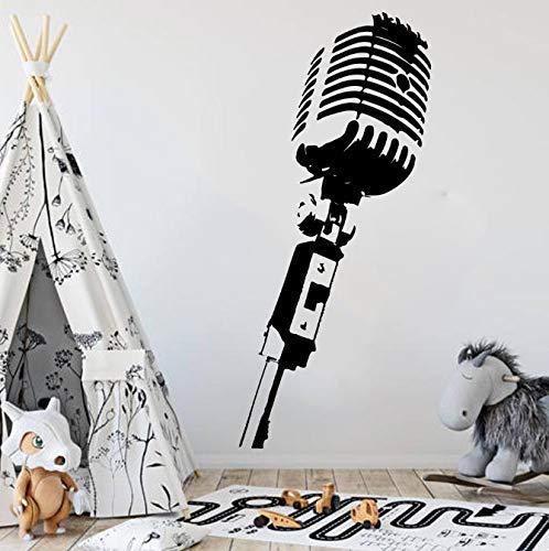Grote Microfoon Muziek Muursticker Slaapkamer Baby Kwekerij Microfoon Mic Studio Muursticker Klas Kinderkamer Vinyl Decor Art 85Cmhighx37Cmwide