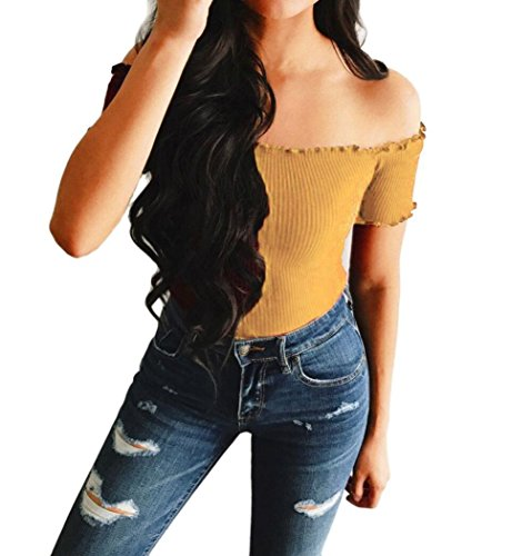 SUCES Damen Einfarbig Engen Tee Shirt Mädchen Stricken Trägerlosen Pullover Hemden Kurzarm Blusen Oberteile U-Boot-Ausschnitt Streetwear Sweatshirts Sommer Westen Tops T-Shirt (XL, Gelb)