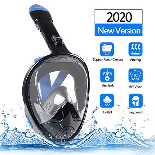 Innoo Tech Tauchmaske vollgesichtsmaske für Erwachsene und Kinder, Tauchermaske vollmaske mit schnorchel, 180° Anti-Fog Schnorchelmaske vollmaske, L/XL