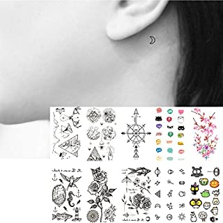 133b3aec3 Oottati 10 Sheets Temporary Tattoo Small Neck Finger Line Finger Fish Rose  Cute Bird Cross Arrow