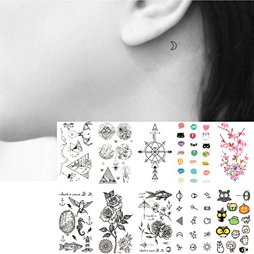 Oottati 10 Sheets Temporary Tattoo Small Neck Finger Line Finger Fish Rose Cute Bird Cross Arrow Triangle Deer Cat