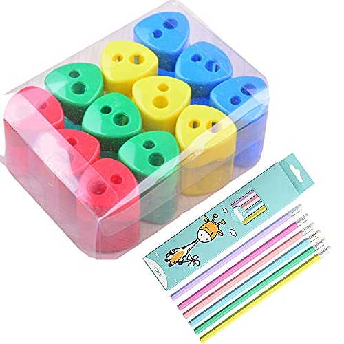 Kaimeilai 12pcs Quality Pencil Sharpener,Double Hole Sharpener, Double Hole...