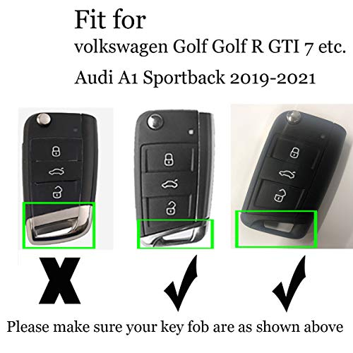 ontto Soft TPU Rubber Remote Key Cover for Volkswagen Golf Golf R Skoda for Audi A1 Sportback 2019-2021 Key Fob Case Holder with Keychain Glossy Black