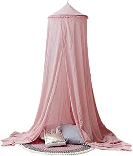 Indoor Kids Play Teepee Tent Mosquito Net Canopy Yarn Bed Net Canopy Crib Netting Round Dome Canopies Bedding for Boy Girl Toddler,Pink
