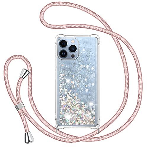 Cover Glitter per iPhone 13 Pro 6.1'' con Cordino, Custodia Brillantini Liquido con Collana Ultra Sottile Morbido Silicone Trasparente Antiurto Protettivo Case per Cellulare Cordoncino - Oro Rosa