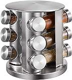 Portaspezie con 12 barattoli per spezie (senza contenuto), in acciaio inox, girevole a 360°, portaspezie, portaspezie con contenitore per spezie, spezie, scaffale in vetro