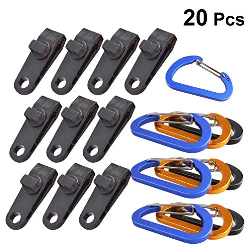 DOITOOL 20PCS Heavy Duty Tarp Clips with Carabiner Plastic Camping Clamp Clips Awning Clamp Set Lock Grip for Outdoors Camping Farming Garden ((10PCS Clip and 10PCS Carabiner)