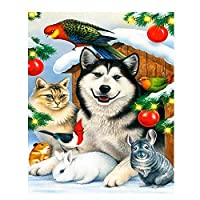 5DダイヤモンドペインティングフルキットDiyダイヤモンドペインティング犬と猫のクロスステッチダイヤモンド刺繡動物パターンラインストーンモザイク家の装飾クリスマスギフト40x50cm