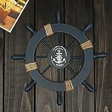 ROSENICE Steuerrad mit Anker Holz Wanddeko Maritime Deko - 4
