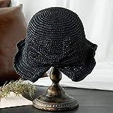 Sombreros De Paja Gorra De Mujer Mujeres Playa Elegante Sombrero para El Sol ala Floja Plegable Panamá Chapeau ala Ancha Bowknot Viseras De Paja Sombrero-Negro_56-58Cm