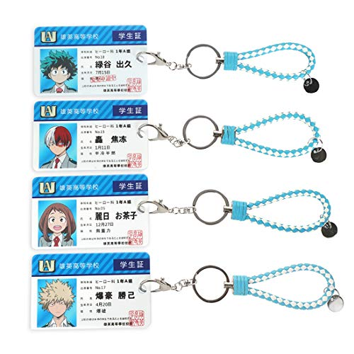 CoolChange My Hero Academia 4 Karten Hüllen mit Ausweis Aufdruck von Izuku, Katsuki, Ochako & Shoto mit Schlüsselring