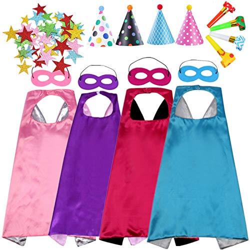 EMIN Umhang und Maske Superhelden Cosplay Kostüme für Kinder Mädchen Halloween Weihnachten Geburtstag Bühnenaufführungen Thema Party Carnival