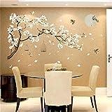 WZhen Etiqueta engomada de la pared de la jaula del pájaro del árbol de la flor del estilo chino Des