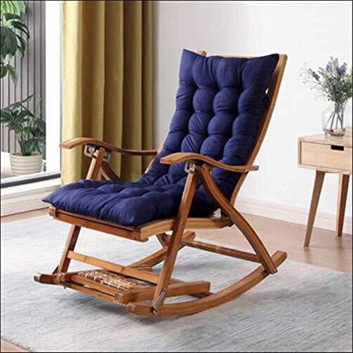 Silla Gravedad Cero, Caja plegable de bambú Longue Longue Silla mecedora Silla reclinable Jardín Tumbado solar con la silla de reclinación del balcón y el masaje extendido (Color: Silla + Cojín azul)