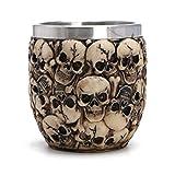 SimpleLife Taza de Bebida de Resina de Acero Inoxidable Taza de café Esqueleto de Calavera Decoración de Halloween Multicráneo 7x8.5cm / 2.76' x3.35