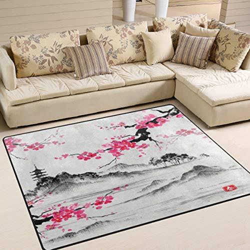 Tapijt 80 x 58 inch Japanse olieverfschilderij Cherry Blossom Sakura bloem voor woonkamer slaapkamer 63x48 Inch Image 3205