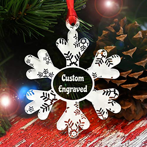 Personalized Christmas Ornaments for 2020   Snowflake Decorations for Tree, Shatterproof Crystal Clear Frosted White Acrylic, Unique Snowflake Custom Keepsake   Made in USA