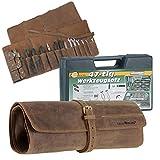 Greenburry Werkzeugrolle Werkzeugtasche Leder gefüllt inkl. Werkzeugkoffer Lederpflegeset antikbraun Oldtimer Biker Schrauber