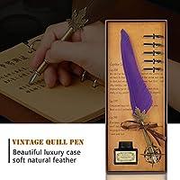 クリスマスギフト用の女性と男性用の5つの交換用ペン先が付いた羽ペンとインクのセット(purple)