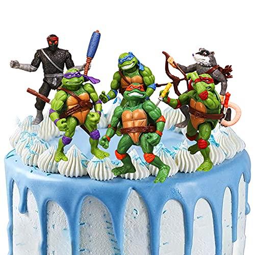 6 PCS Ninja Tortuga Mini Figuras, Ninja Tortuga Cake Topper Decoración Mini Juguetes Baby Shower Fiesta de cumpleaños Pastel Decoración Suministros