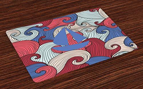Juego de 4 salvamanteles abstractos, ilustración de silueta de velero sobre coloridas olas abstractas de garabateo, resistentes al calor, lavables para mesa de comedor, multicolor