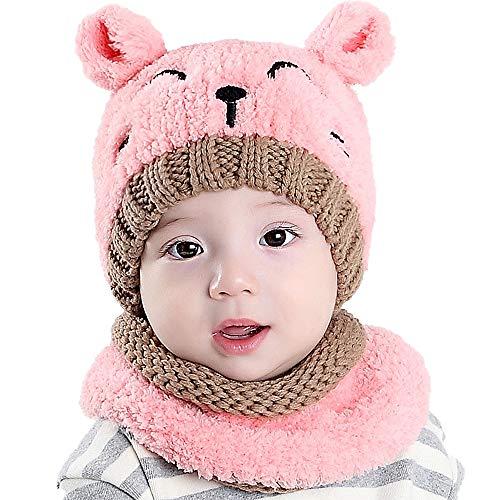 Luoistu Baby Wintermütze Winterschal Beanie Kinder mütze Strickmütze Süß Warmen Kaschmir Mütze Schal set für jungen mädchen 6-36 Monaten(Pink)