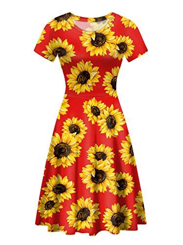 POLERO-Kleid für Damen, klassisch, Leopardenmuster, Sonnenblumen-Kleid, mittellang, Rundhalsausschnitt, Kurze Ärmel, für Freizeit, Arbeit, Party Gr. L, Sonnenblumenrot