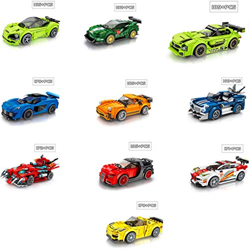 Car racing sportwagen Building Blocks and Engineering Technic Toy, Volwassen Collectible Modelauto Set, Kids Volwassenen verjaardag Xmas Gifts (Color : Set (10))