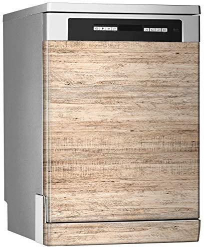 Megadecor decoratief vinyl voor vaatwasser, afmetingen standaard 67 cm x 76 cm, lichte bodem van natuurlijk hout met middelgrote korrel.
